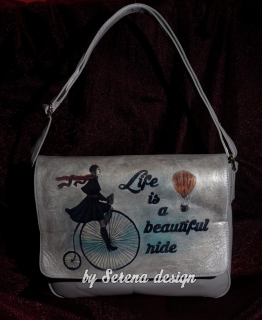 Geanta pictata si decorata prin tehnica decoupage Life is a beautiful ride